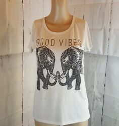 Cold Crush Women's Top Ivory Elephant Size Small Good Vibes  $13.49