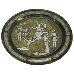 Syrian Judaica Damascus Plate Engraved With The Judgment Of Solomon Story