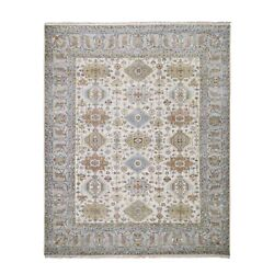 8and0391x10and039 Ivory Karjihooz Design Pure Wool Hand Knotted Oriental Rug R59029
