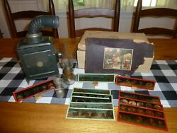 Magic Lantern Slide Projector Outfit With 12 Hand Painted Glass Slides, Rare