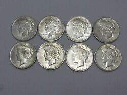 8-1922 Thru 1925 Peace Silver Dollars--nice 8 Shiny Coins-p,s, D Mint Marks359