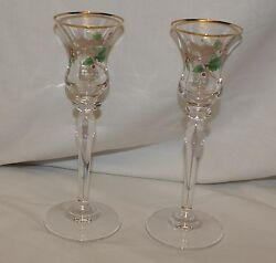 Christmas Candlestick Holders Gold Trim Green Holly amp; Red Bow Fluted Glass 7.75quot;
