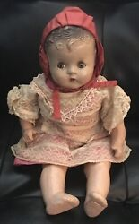 """Antique Baby Doll Mama Crier 16"""" Composition Baby Doll Clothing Circa 1930's"""