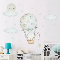 Cartoon Baby Elephant Wall Stickers Kids Room Bedroom DIY Decals Removable B4H1