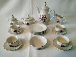 Anitque 1910's-20's Childs Porcelain 22 Piece Tea Set With Lovely Rose Disign