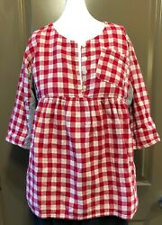 CUTE Red PlaidGray BabyDollTunic Blouse Women's Size M w Front PocketButtons $10.00