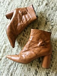 Designer Classic Angelo Figus Brown Leather Ankle Boots 37 Italy Pointed Toe $25.00
