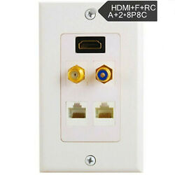 1080p 1 Port Hdmi Wall Face Plate F Rca 2 Rj45 Network Cable Panel Socket