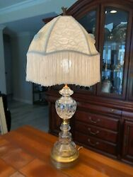 Vintage Mid Century Cut Crystal And Brass Lamp 23 Tall Bottom To Socket