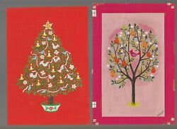 Christmas Tree W/ Ornaments And Partridge 5.5x8 Greeting Card Art 252 Lot Of 2