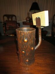 Arts And Crafts Bronze Kindling Match Holder Tree Texture Red Copper Patina C1910
