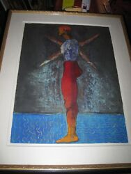 Modern Abstract Expressionist Large Painting Dancer Colorful Signed C1985 Spain