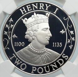 1989 Guernsey Island Elizabeth Ii Henry I Proof Silver 2 Pounds Coin Ngc I85399