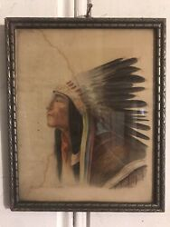 Vintage 1935 Eagle Feather Native American Indian Portrait Drawing J. Speth