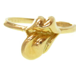 Chrome Hearts 22k Rolling Stones Lip And Tan Ring Us Size 3.5