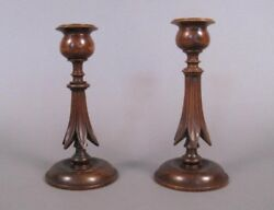 Antique India Pair Rosewood Colonial Anglo Indian Carved Candle Sticks C1900