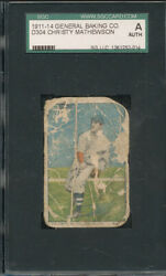 Christy Mathewson 1911 Brunners Bread D304 -poor-🔥extremely Rare-sgc Authentic