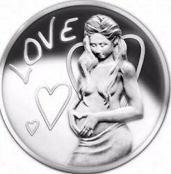 2015 1 Oz .999 Pure Silver Shield Proof Love Girl Coa Round Coin Sbss Wastweet