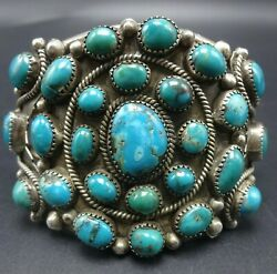 Heavy Vintage Navajo Sterlingsilver Turquoise Cluster Cuff Bracelet Twisted Wire