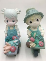 Vintage 2004, 2008 Precious Moments Boy And Girl With Veggie Wheelbarrows Statues