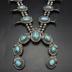 Vintage Navajo Sterling Silver And Blue Ridge Turquoise Squash Blossom Necklace