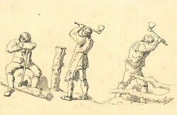 A. Anderson - A Trio Of 20th Century Pen And Ink Drawings Farmhands At Work