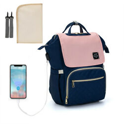 LEQUEEN USB Backpack Diaper Bag Mommy Backpack Travel Nappy Bags Waterproof $17.99