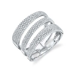 14k White Gold Diamond Open Wrap Swirl Ring Ring Cocktail Wide Pave Set Natural