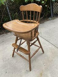Solid Heirloom Quality Vintage Ash Wooden Baby Youth Feeding High Chair And Tray