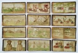 Lot Antique 12pc Early Native American Indian Stereoviews Hand Colored Photos