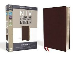 Niv, Thinline Reference Bible, Large Print, Bonded Leather, Burgundy, Re .. New