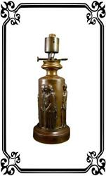 Ferdinand Barbedienne Antique French Bronze Electrified Oil Lamp Base