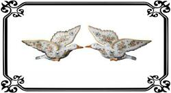 Rare Pair Of Gooses Wall Pocket French Antique Hand Painted Desvres