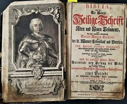 1748 Antique German Bible Folio 15 Martin Luther Old New Testament Apocrypha