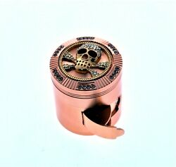 Rosegold Diamond Skull Print Heavy Duty Herb Grinder With Easy-access Window