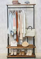 Pipe Style Rolling Garment Clothing Rack Hall Tree With Shelf and Shoes Storage