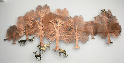 Large Mid Century Brass And Copper Wall Sculpture Bijan 39 X18 Signed Stunning Art
