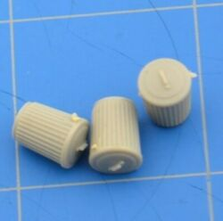 3/8 Garbage Cans Lot Of 3 Trash Containers Gray Small Miniature Ho Scale Train
