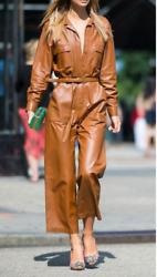 Women Genuine Leather Jumpsuit Catsuit Brown High Waist And Belt Leather Overall