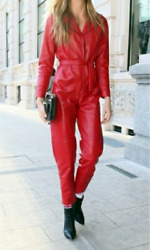 Women Genuine Leather Catsuit Jumpsuit Red High Waist With Belt Leather Overall
