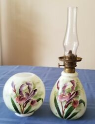 Vintage 1800s‼miniature Oil Lamp With Gorgeous Handpainted Iris Flowers 10 Tall