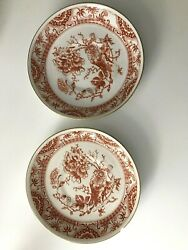 Set Of 2 Royal Crown Derby Red Bone China Dishes Gold Rim Marked A 31