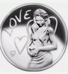 5 Oz .999 Pure Silver Shield Proof Love Sbss Round Coin Beautiful Girl Wastweet