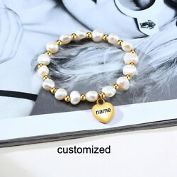 Personalized Women#x27;s ID Name Bracelet Chain Casual Pearl Beaded Love Heart Charm $11.89