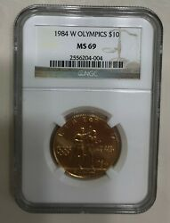 1984 W American Usa Liberty Olympic 1/2 Oz 10-ngc Graded Ms69 .9999 Fine Coin