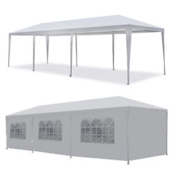 10' X30' White Canopy Wedding Party Tent Bbq Gazebo Pavilion With Side Walls