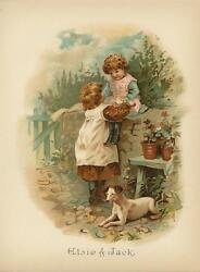 ANTIQUE VICTORIAN CHILDREN CHILD FLOWERS JACK RUSSEL TERRIER DOG CHROMO PRINT
