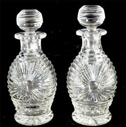 Pair Art Deco Cut Glass Perfume Scent Bottles With Stoppers