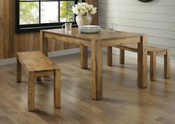 Dining Table Set Farmhouse Country Rustic Wood Benches Seat 3 Piece Furniture