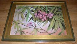 VINTAGE GARDEN BOTANICAL HORTICULTURE NATURE OLEANDER FLOWERS TREE OIL PAINTING